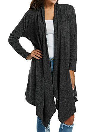 c05b0c5915d7 Floral Season Women s Long Sleeve Draped Open Front Solid Fall Winter Cardigan  Sweater Review