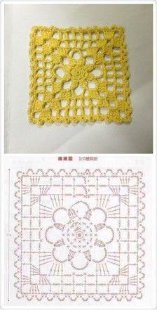 方形简单钩针单元花。