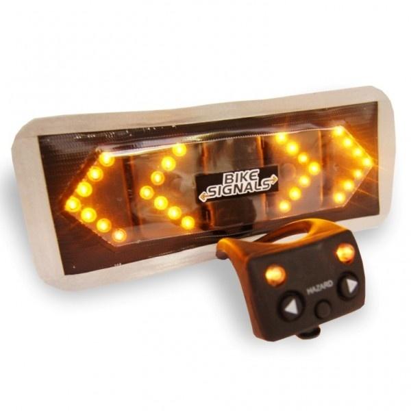 """Frecce a LED con controllo a distanza per bicicletta. Funzionamento senza fili. Funzioni: destra, sinistra e pericolo, con suono """"beep"""". LED colore ambra super-luminoso. Bordo riflettente."""