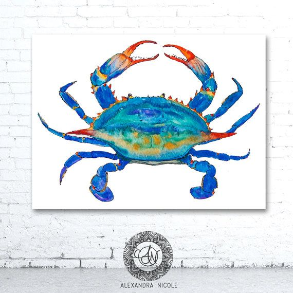 Blue Crab fine art print is signed and numbered with its edition. It is reproduced from an original watercolor painting.  SPECIAL NOTE: This fine art reproductionprint is part of a limited edition run of 200. You may notice that limited edition prints run slightly more than regular run prints.  Available in:  Prints Only Matted Gallery Wrapped Reproduction Giclee Canvas  GALLERY WRAPED CANVAS: FEATURES AND BENEFITS Capture the timeless elegance and subtle texture of an original work with art…