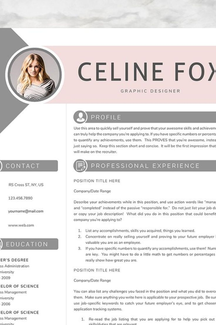 C O N T E N T S 2 page resume template 1 cover letter