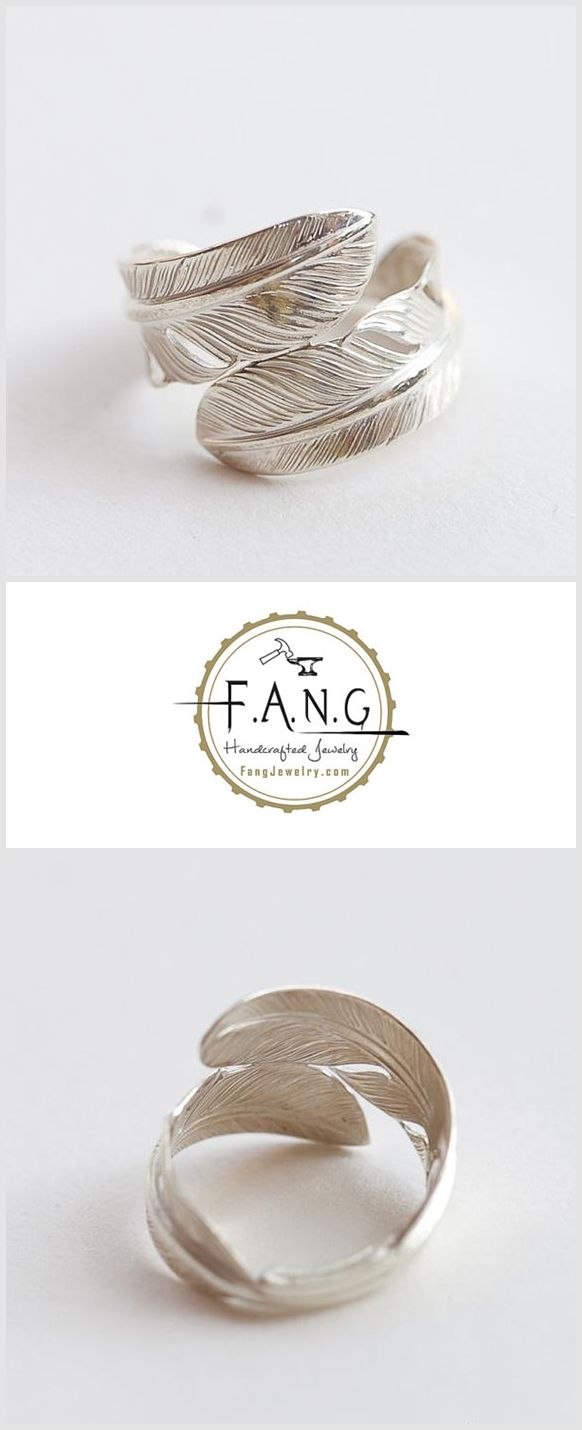 925 Silver Feather Ring Oxidized Feather Jewelry Couple Ring Men For Women Ring…