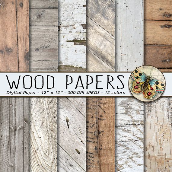 Wood Digital Paper, White Wood Paper Pack, Rustic Wood Textures, Photography Backdrop, Barn Wedding, Backgrounds, Distressed Wood Paper #scrapbooking #custominvitation
