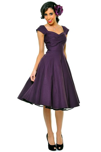 BEST SELLER! STOP STARING! MAD MEN Eggplant Pleated Bodice Cap Sleeve Swing Dress - Unique Vintage - Homecoming Dresses, Pinup & Prom Dresses.
