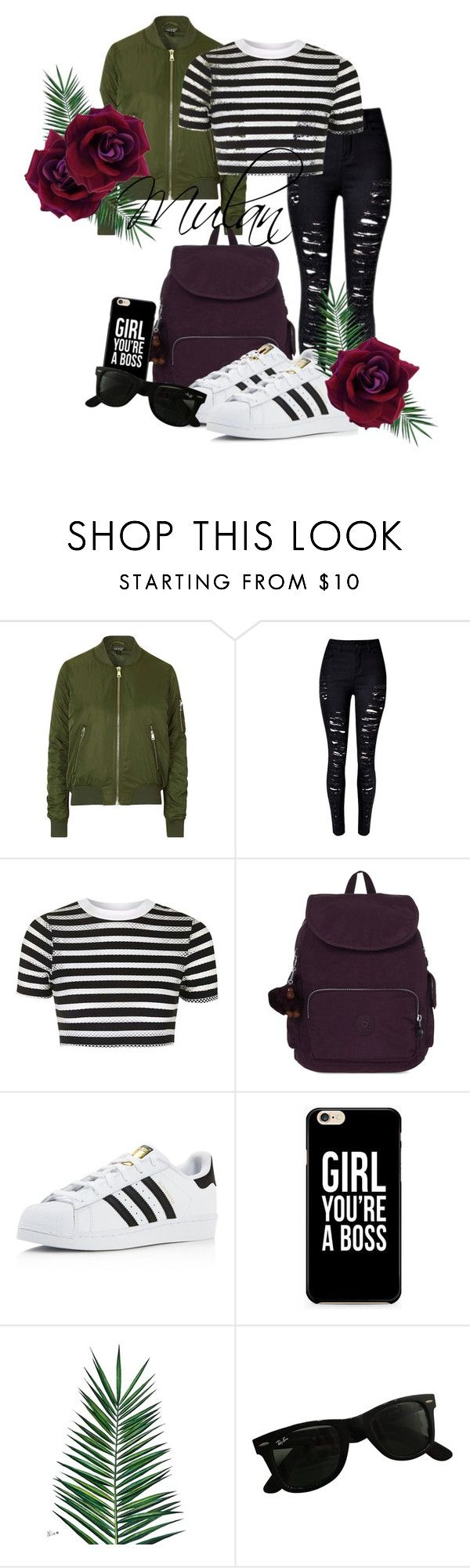 """Mulan"" by grraciie-386 on Polyvore featuring Topshop, Kipling, adidas, Nika and Ray-Ban"
