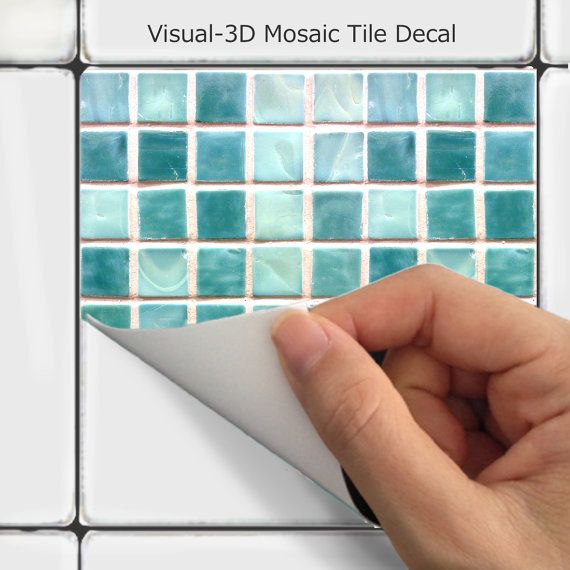 Wall tile decals vinyl sticker waterproof tile or wallpaper for kitchen bath - Stickers pour carrelage salle de bain ...