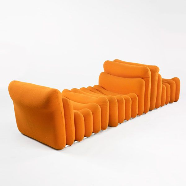 Orange Additional Seating by Joe Colombo 1967 Répond aux besoins flexibles de l'utilisateur Mobil(-ier)