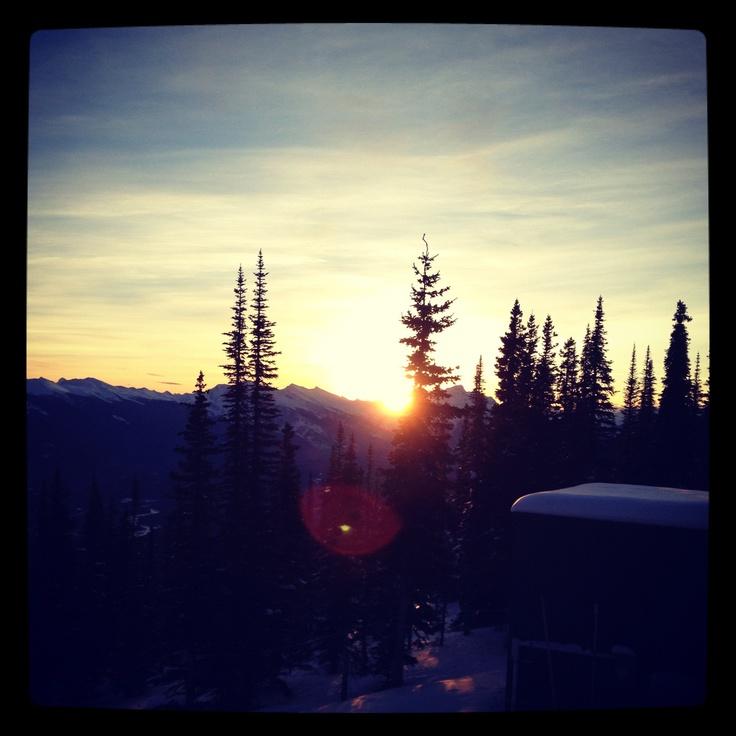 Sunrise over the Rockies, Marmot Basin, Canada -cool shot!