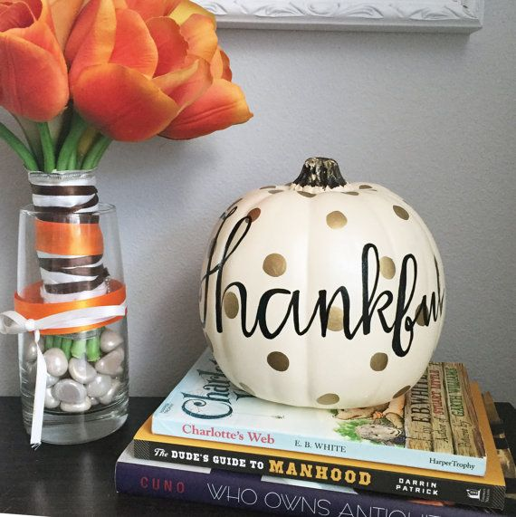Hand Painted Decorative Pumpkin, Hand Lettered Thankful Pumpkin, White Pumpkin Decoration, Thanksgiving Decor, Black and Gold Decor