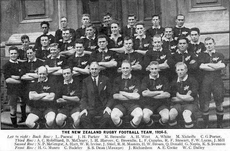The 1924 All Blacks rugby team which became known as 'The Invincibles'.  The New Zealand rugby union team which toured the United Kingdom, Ireland, France and Canada in 1924–25 was nicknamed 'The Invincibles' after it won all 32 of its games overseas. The tour included test matches against Ireland, England, Wales, and France. Overall the team scored 838 points and conceded only 116.