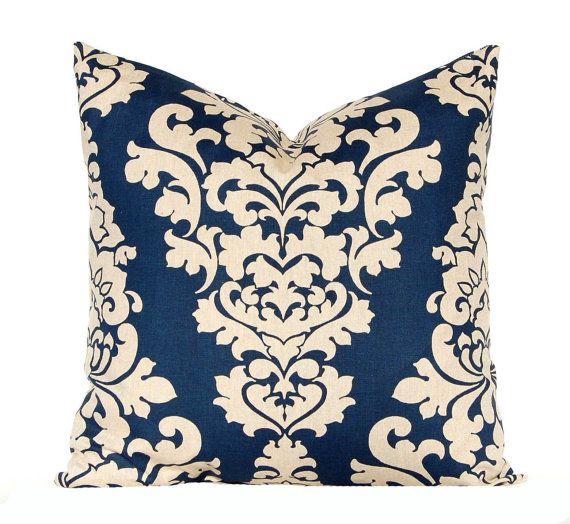 euro sham navy blue pillow covers linen pillows decorative throw pillow covers navy taupe linen sofa pillows blue cushion by