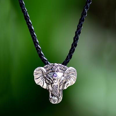 Men's silver and leather necklace, 'Wise Ganesha'. Shop from #UNICEFMarket and help save the lives of children around the world.