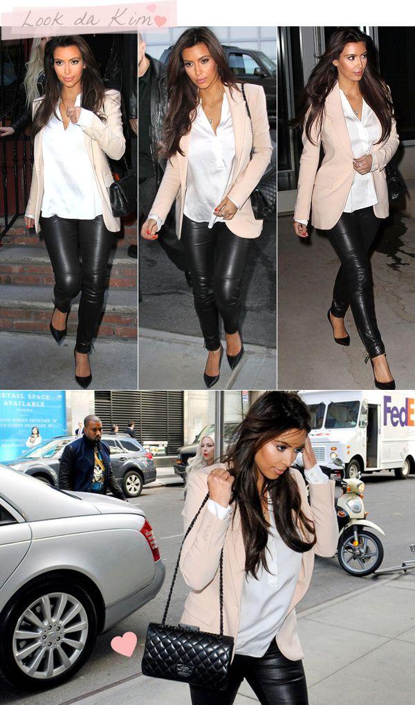 Look lindo da Kim Kardashian: blazer e calça de couro « got sin?