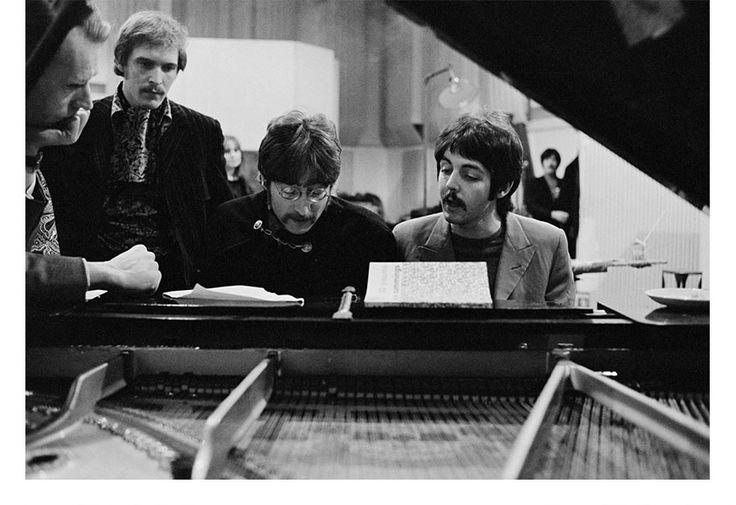 John Lennon & Paul McCartney at Abbey Road Studios (1967)  Photo by Henry Grossman