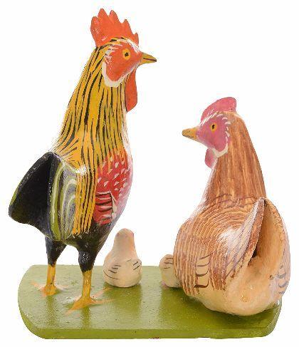 UTSAV KRAFT Wooden Hen & Chicken Showpiece (12 cm x 8 cm x 14 cm) - Nirmal Crafts
