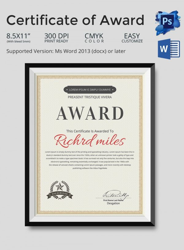 13 best Award Certificates images on Pinterest Award - award certificate template for word