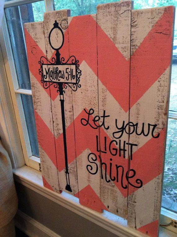 Wood Chevron Pallet Art -Matthew 5:16 Let your light shine