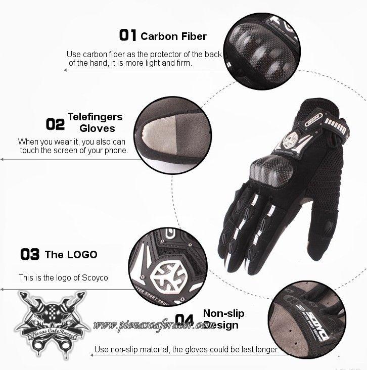 """34,35€ - ENVÍO GRATIS - Guantes Moto Modelo """"Telefingers"""" con Protecciones de Fibra de Carbono Distintos Colores"""