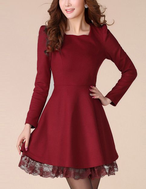 Silm cut long sleeve dress - Glitzx
