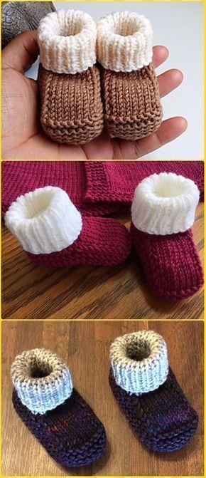 Knitting Newborn Booties Gratisanleitung Video – Ankle High Baby Booties … …   – Stricken