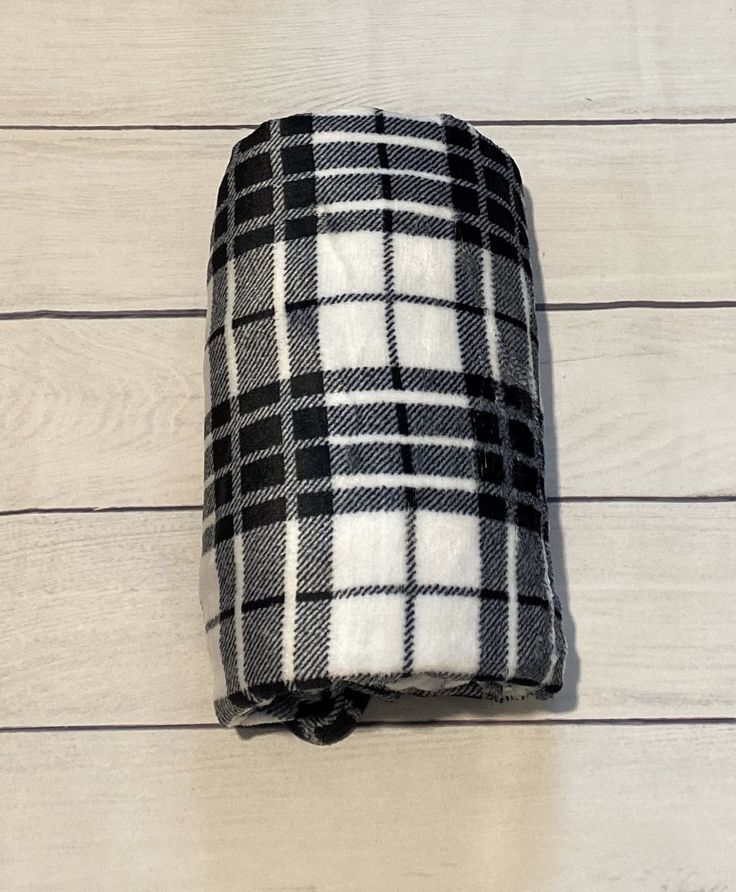 Black & White Plush ThrowPersonalized Adult BlanketMinky