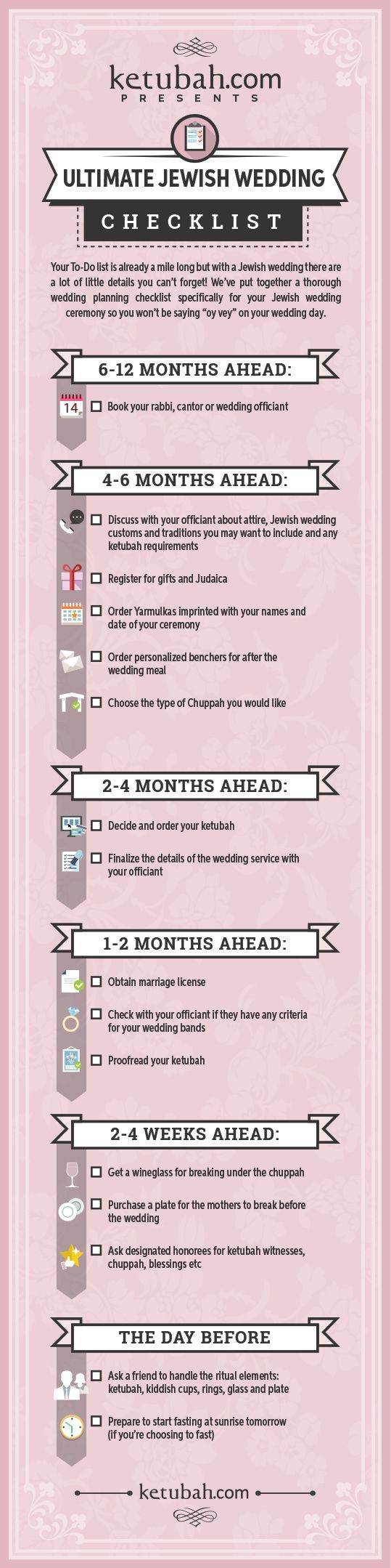 Download this Ultimate Jewish Wedding Checklist from the experts at Ketubah.com. Click on the checklist for more detailed explanations of each item so you know exactly what you need and why!