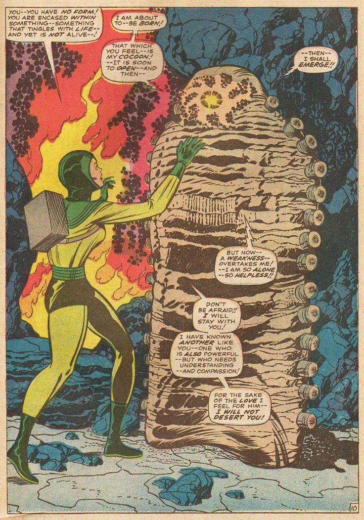 Fantastic Four, No. 67, 'Him' hatches from his cocoon. 'Him' would eventually become the Warlock. ~ artwork by the incredible Jack Kirby & Joe Sinnott