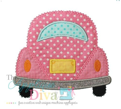 Summer Love Bug Car Digital Embroidery Design Machine Applique