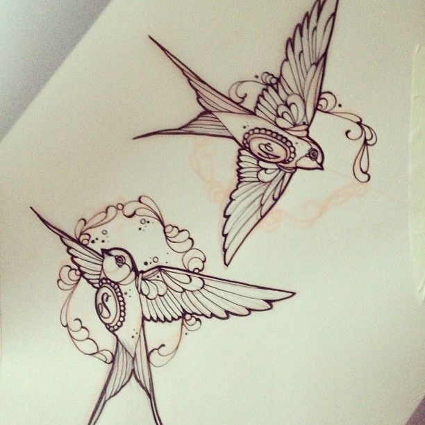 With a J & E on their breasts and the swallows shaded in