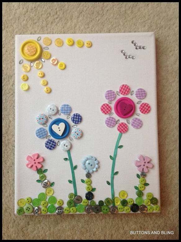 Gorgeous Button Art Flower Canvas by ButtonsandBlingbyDeb on Etsy …