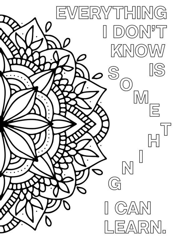 Growth Mindset Coloring Pages Printable Mandala Positive