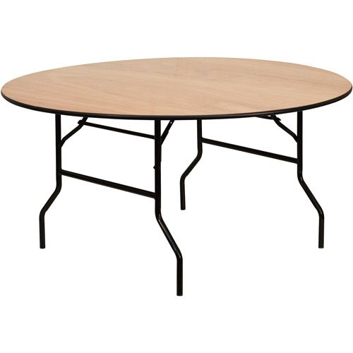 60 Inch Round Wood Folding Banquet Table W/Clear Coated Finished Top
