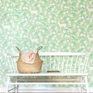 Majvillan tapet Apple Garden grønn - Miss Muffet Barnerom