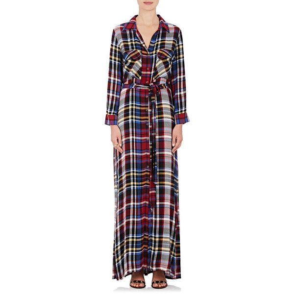 L'Agence Women's Cassie Flannel Belted Shirtdress ($179) ❤ liked on Polyvore featuring dresses, red, plaid shirt dresses, belted shirt dress, long sleeve dress, long sleeve slit dress and red shirt dress