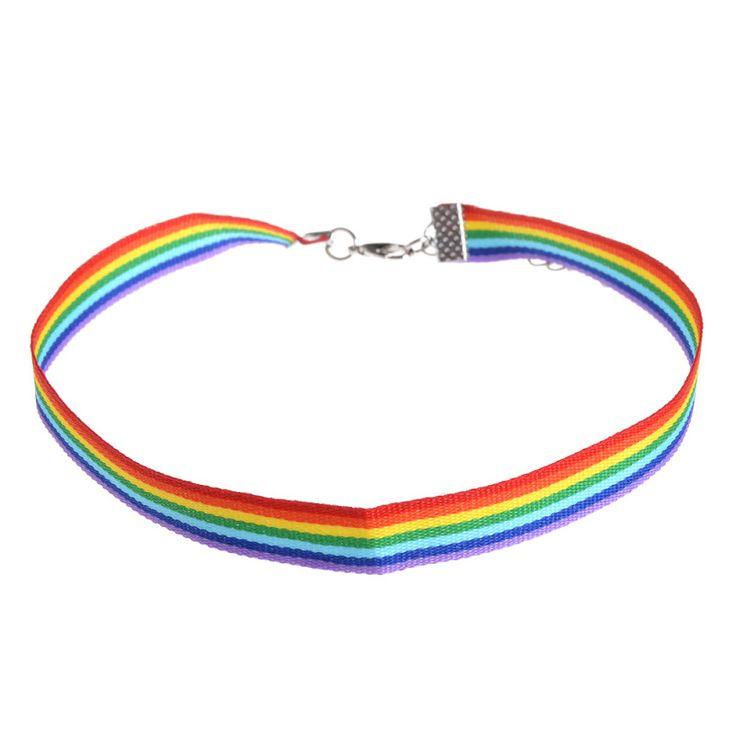 ผู้ชายผู้หญิงเกย์ภูมิใจสายรุ้งchokerสร้อยคอlgbtเกย์และเลสเบี้ยนความภาคภูมิใจลูกไม้c hockerริบบิ้นปลอกคอพร้อมจี้เ