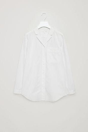 COS image 2 of Puckered pyjama shirt in White