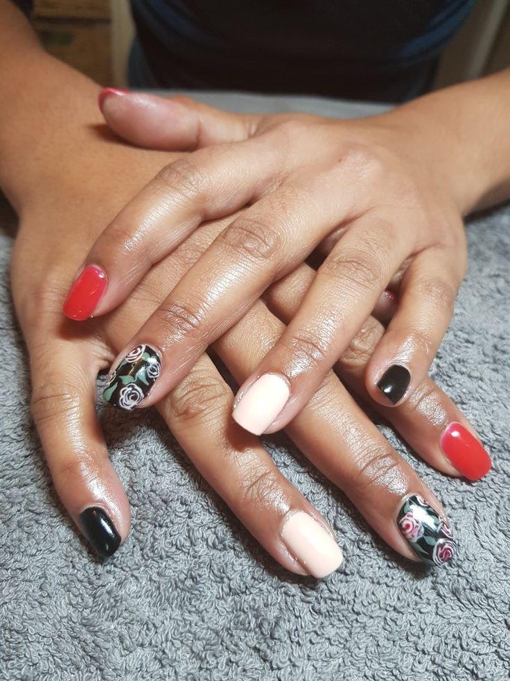 Roses free hand nail art