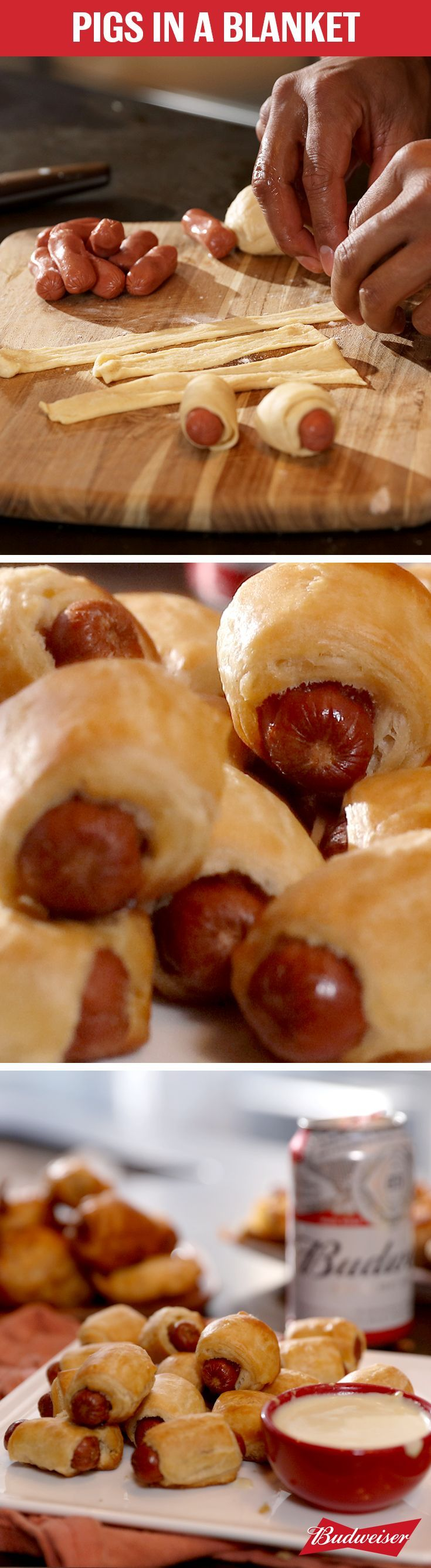 Appetizers are where it's at during March Madness. Don't miss out on our bite-sized Pigs-in-a-Blanket. Wrap mini hot dogs in crescent rolls and bake. Dip them in a creamy dijon mustard sauce. Then wash them down with an ice cold Budweiser                                                                                                                                                      More