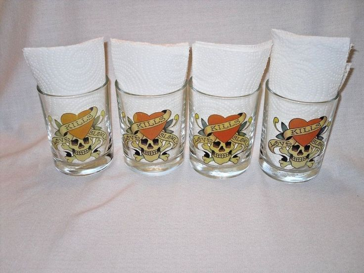 Don Ed Hardy Designs Love Kills Slowly Set of 4 Short Drinking Glass 10 oz #DonEdHardyDesigns