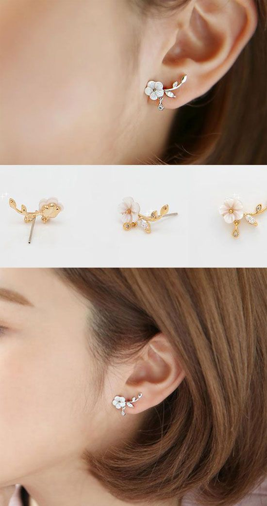 fd71de61b Unique Design Silver Shell Flower Shape Fashion Earring Studs #cute # earrings #fashion #flower