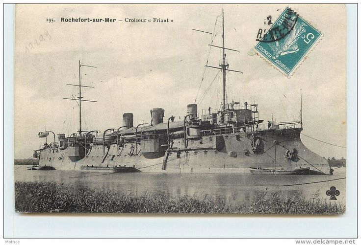 FRIANT (1893). 3982t protected cruiser. Armed with 6-6.4in/45 QF M1891 and 4-3.9in/45 QF M1891. Armoured deck was 1.2in on the flat with 3.2in slopes.