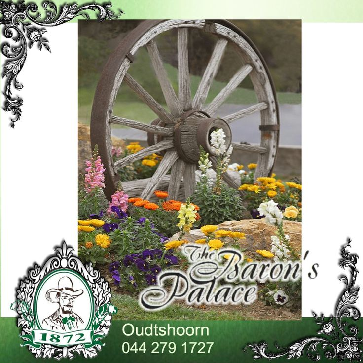 Garden DIY! Wagon Wheel Idea, don't you think. #garden #diy #wagonwheel