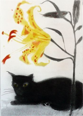 'Black Cat and Lily' by Elizabeth Blackadder. Etching and Aquatint - 1988