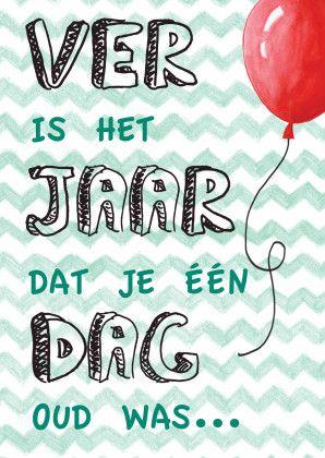 Originele tekst verjaardagskaart met ballon. Grappig en vrolijke kaart voor de jarige. Zus&ik ontwerp