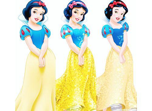 Disney Princesses: original designs → 2012 redesigns → 2014 design