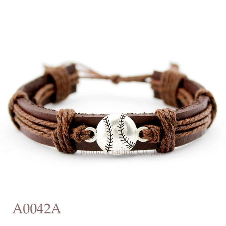 (10PCS/lot) Baseball Adjustable Leather Friendship Cuff Bracelet for Men & Women Baseball Bangle Casual Wristband Jewelry