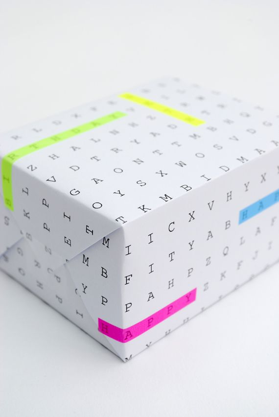 "Imprimible papel de regalo ""sopa de letras""  DIY word search gift wrap"