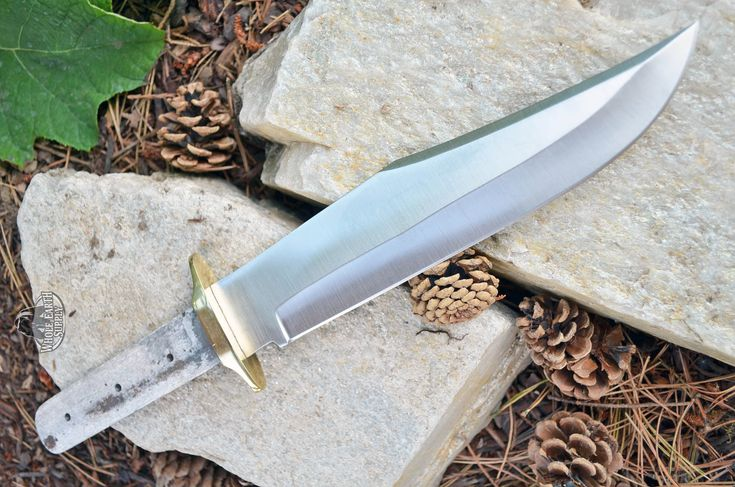 Hunting CUSTOM BLANK Large Bowie Knife Making Blade Knives with Brass Guard Bolster #009