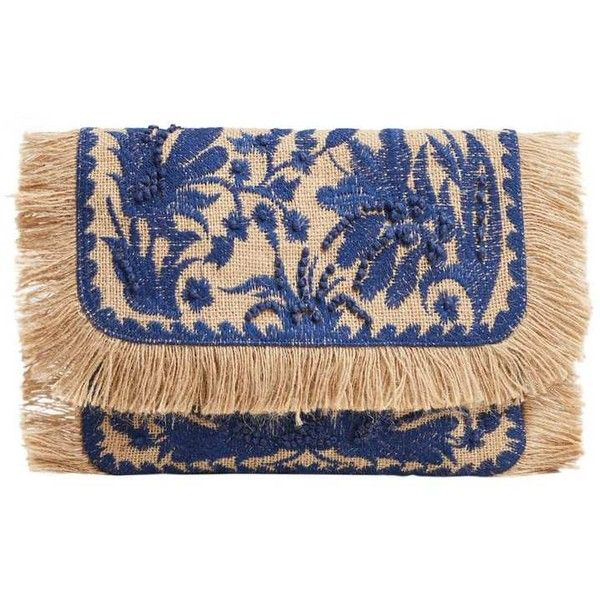 Jute Flowers Clutch ($37) ❤ liked on Polyvore featuring bags, handbags, clutches, embroidered purse, fringe handbags, metallic handbags, embroidered handbags and metallic purse