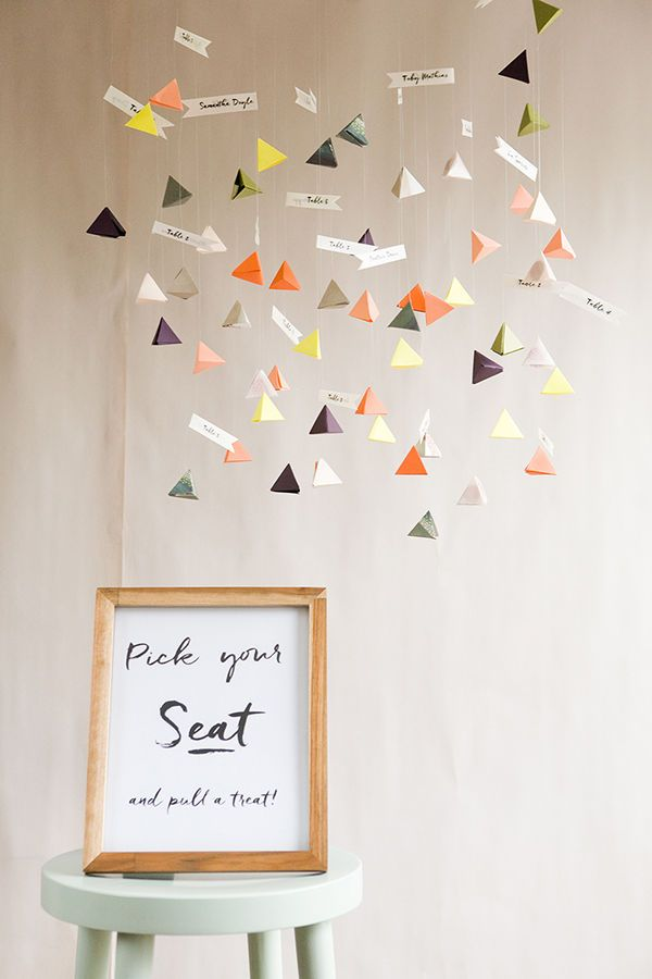 DIY Seating Chart: Modern brides will love this geometric seating chart that can hang in the entryway of a reception venue. Not only will the most novice of DIYers find this a cinch to assemble, it's also very budget-friendly. | 10 Easy #DIY Wedding Projects With A Big Impact